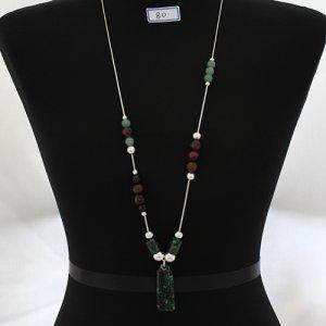 은구슬, 옥(玉), 돌(石)로 연결된 핸드메이드 목걸이 (기본50cm) JD30046
