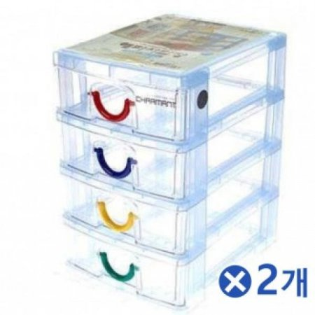투명 해피서랍장 4단 색상랜덤x2개 데스크정리