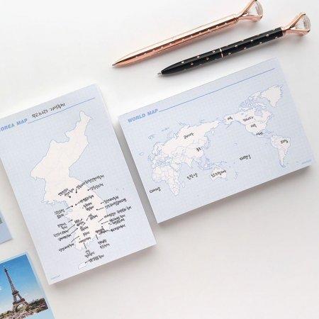 메오지 메모장 지도떡 드로잉 한국지도 세계지도