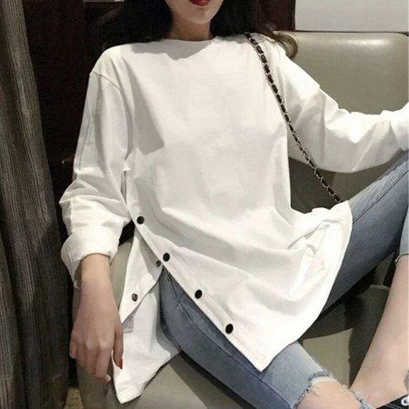 20대 30대 여성 단추 옆라인 긴팔 캐주얼 롱 티셔츠