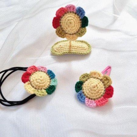 뜨개 꽃머리핀 머리끈3종세트