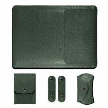 노트북 가죽 파우치 세트(그린) (27x37cm)