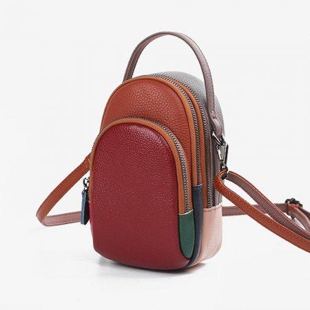 예쁜 가방 레드- 여성 실용 천연 가죽 크로스 패션