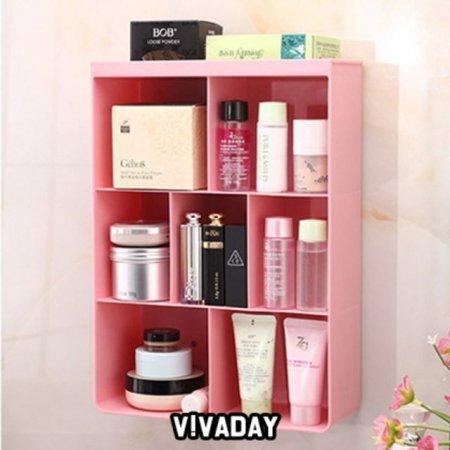 벽걸이 수납장 수납함 욕실 선반 핑크 정리 용품