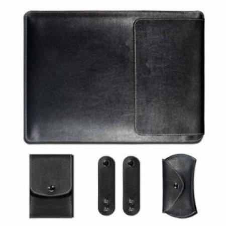 노트북 가죽 파우치 세트(블랙) (27x37cm)