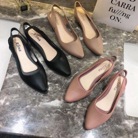 여자 플랫 슈즈 슬링백힐 구두 신발 미들힐 굽 3.5cm