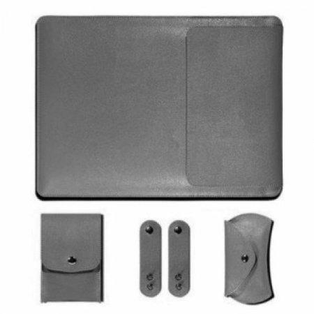 노트북 가죽 파우치 세트(그레이) (27x37cm)