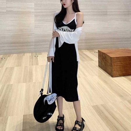 여성 끈나시 블랙 원피스 휴양지 비치 웨어 캐주얼
