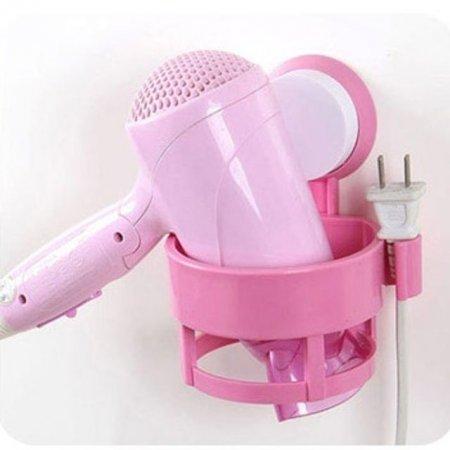 거실 화장대 드라이기 거치대 욕실 수납 용품 핑크