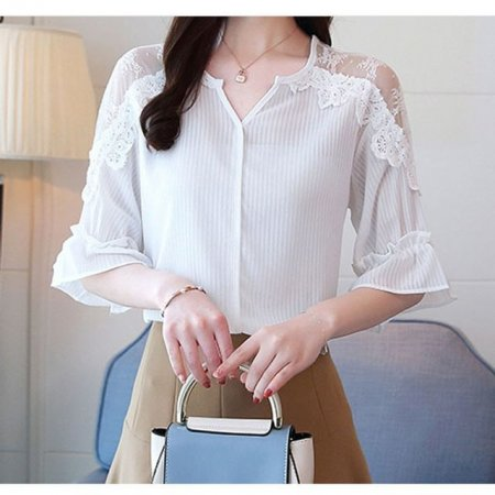여자 블라우스 티셔츠 반팔티 여름 프릴 블라우스