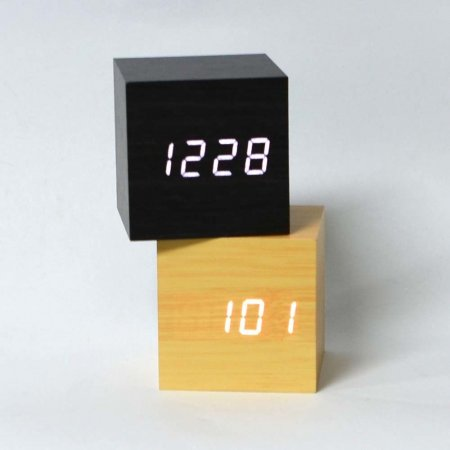LED 우드 큐브 탁상시계 LED탁상시계 탁상시계 전자시