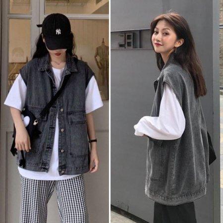 여자 캐주얼 패션 청코디 빈티지 오버핏 블랙진조끼