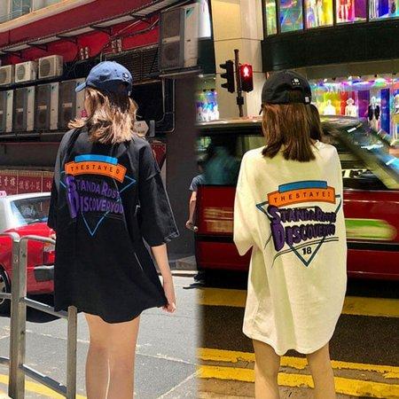 여성 앞뒤 프린팅 포인트 박시 오버핏 데일리 티셔츠