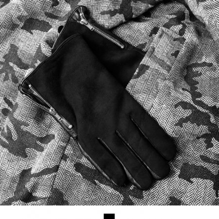 배색 양가죽 집업 남성장갑 M1718022