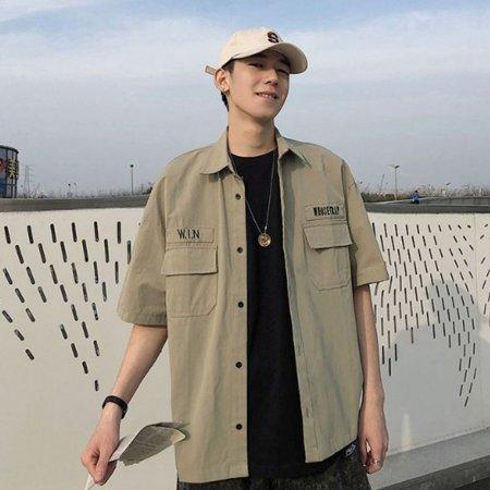 남자 반팔 셔츠 여름 옷 카라티 남방 오버핏 2컬러