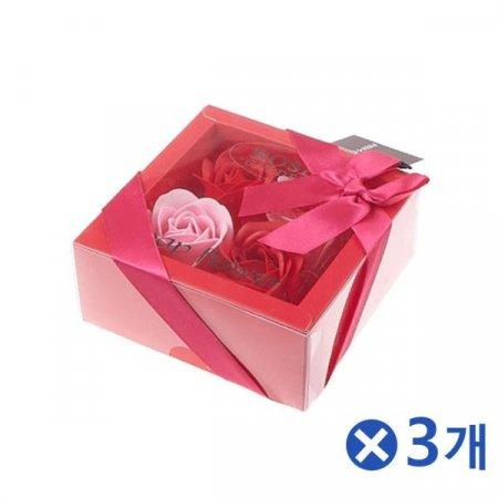 고급스러운 비누꽃 플라워박스 레드x3개 기념일꽃다발