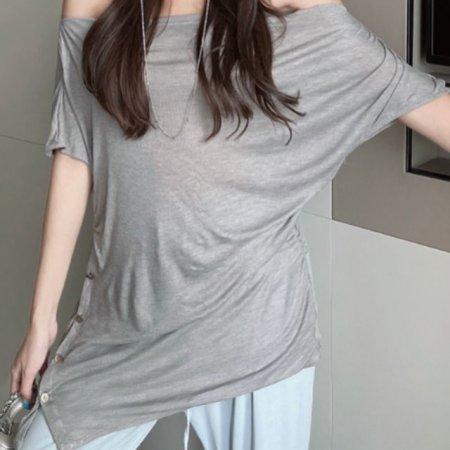 G125350_단추포인트 스판 셔링 티셔츠