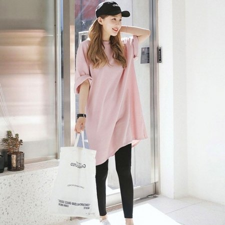 여자 핑크 밑단 옆 트임 롱 데일리 티셔츠