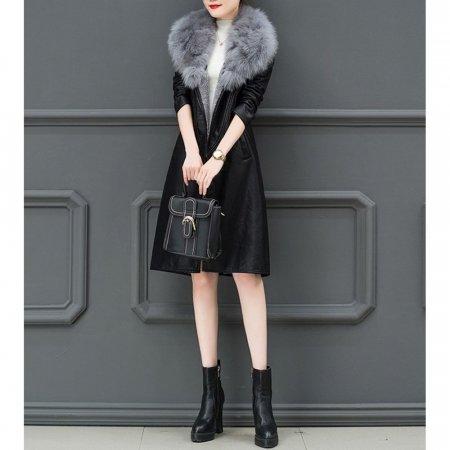 겨울 여성 슬림핏 미디롱 가죽 털 코트 점퍼 자켓