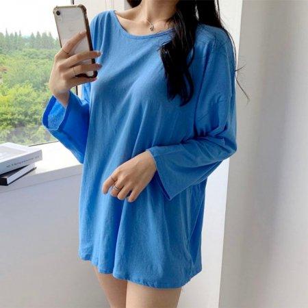여름 긴팔 시스루 오버핏 쿨 롱 가벼운 무지 티셔츠