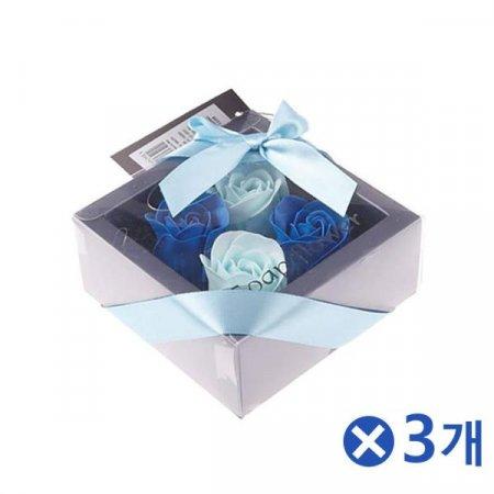 고급스러운 비누꽃 플라워박스 블루x3개 생일꽃다발