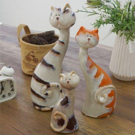 길죽 고양이가족 3P세트 카페 도자기 장식품 인테리어