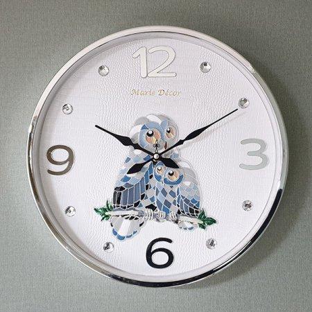 컬러블록 부엉이 심플벽시계 실버 벽시계