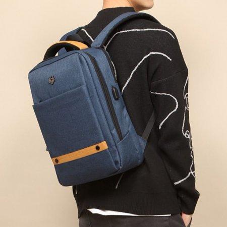 유행 남성 백팩 UEB 포트 가방 캐주얼 책가방 블루