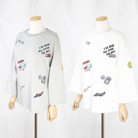 여성 간절기 면티 일러스트 자수 7부 라운드 티셔츠