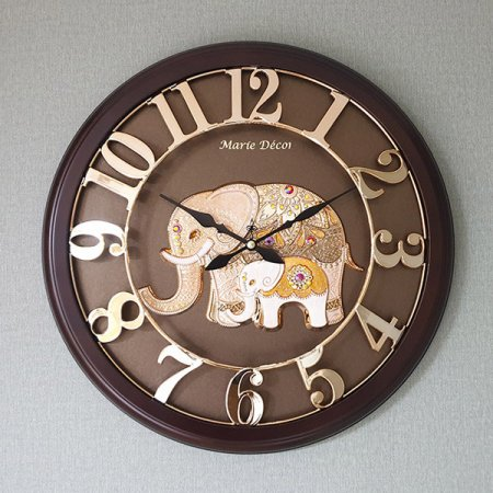 넘버링 우드 벽시계 파인보석 코끼리 골드 벽시계