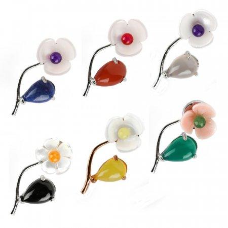 천연소재 자개 꽃 송치 아게이트 원석