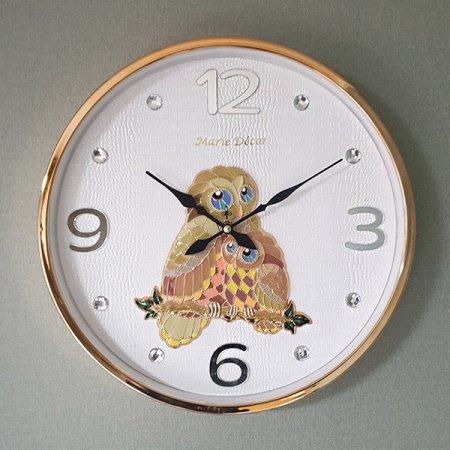 컬러블록 부엉이 심플벽시계 골드 벽시계