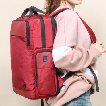여성 데일리 백팩 노트북 책가방 USB 포트 빨간 가방