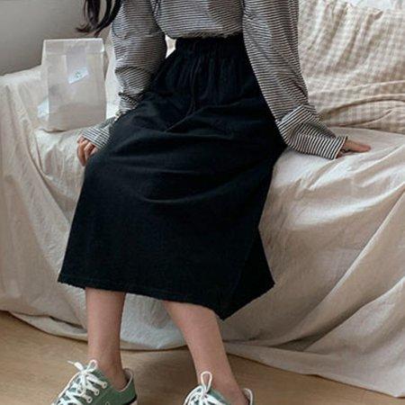여자 밴딩 롱스커트 빈티지 치마 캐주얼 데이트 패션