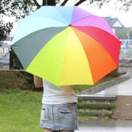 무지개 3단 우산