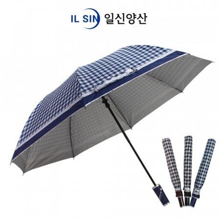 체크 실버 자동 2단 우산