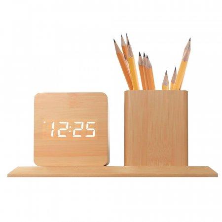 연필꽂이 무소음 LED 알람시계(네모형)