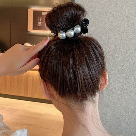 블랙- x2개 세트 올림머리 집게핀 진주 머리핀 헤어핀