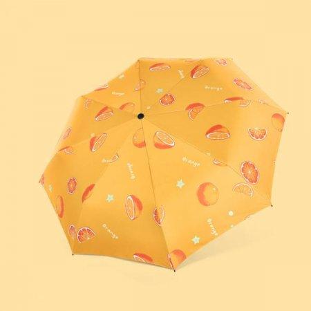 예쁜 색깔 3단 접이식 양우산 암막 자동 우산 오렌지