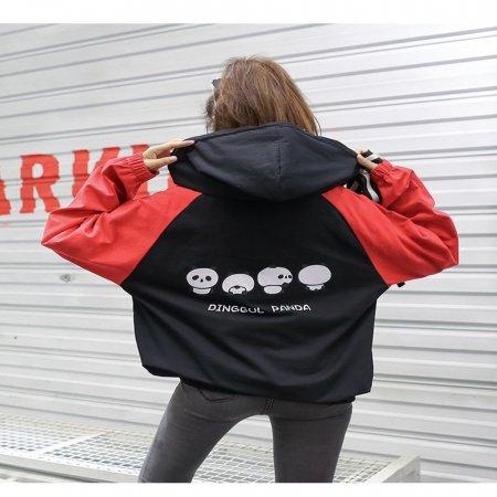 F9016/남녀공용/소매배색 루즈핏 등프린팅 후드티셔츠