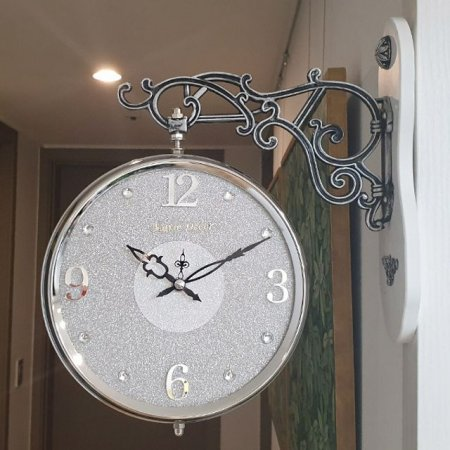 글리터 무소음 양면시계 (실버그레이)