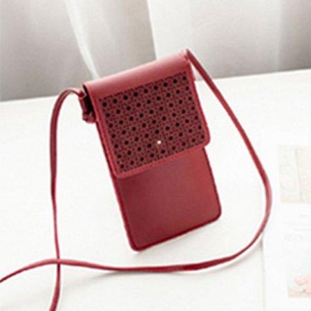 터치되는 PU소재 핸드폰 여권 파우치 미니 가방 레드