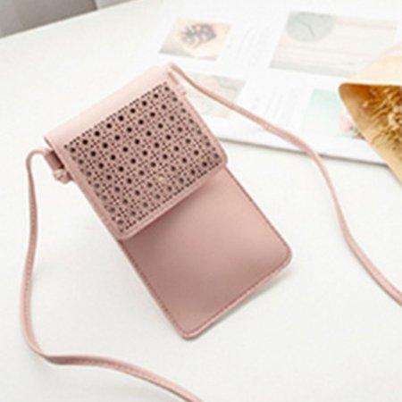 터치되는 PU소재 핸드폰 여권 파우치 미니 가방 핑크