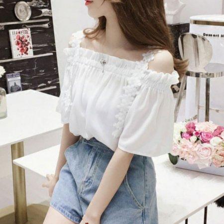 여성 여름 소매 리본장식 레이스 7부 블라우스 티셔츠