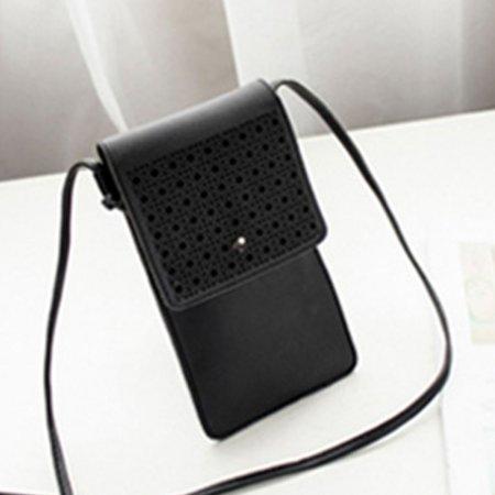 터치되는 PU소재 핸드폰 여권 파우치 미니 가방 블랙