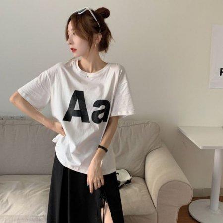 aa프린팅 화이트 티셔츠