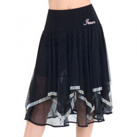 여성 라틴댄스복 하의 루즈핏 스판망사 미디 스커트