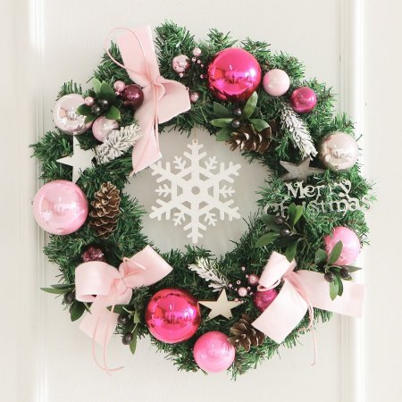 스노우크리스탈리스(대) 핑크 크리스마스리스 리스