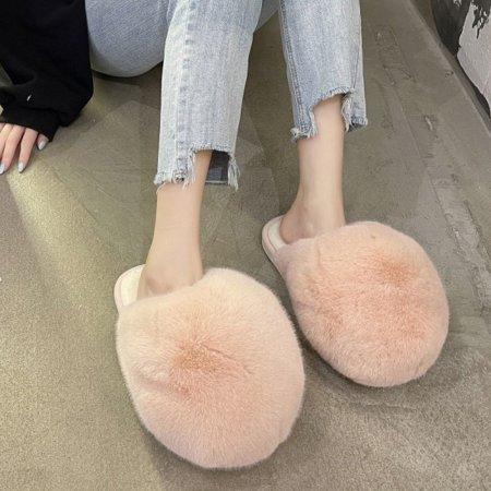 풍성한 털슬리퍼 핑크 겨울 방한 실내화 털실내화