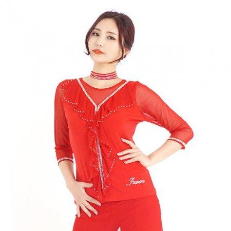 Y라인 셔링 큐빅포인트 여성 라틴댄스 7부 티셔츠